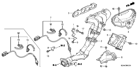 2009 s2000 BASE 2 DOOR 6MT EXHAUST MANIFOLD diagram