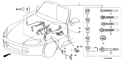 2008 s2000 CR(WITH AC) 2 DOOR 6MT ENGINE WIRE HARNESS diagram