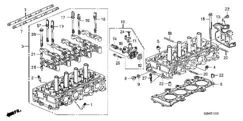 2008 s2000 CR 2 DOOR 6MT CYLINDER HEAD diagram