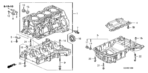 2008 s2000 BASE 2 DOOR 6MT CYLINDER BLOCK - OIL PAN diagram