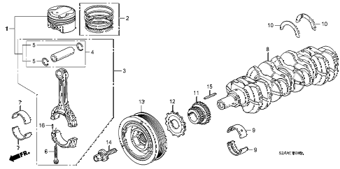 2008 s2000 CR 2 DOOR 6MT PISTON - CRANKSHAFT diagram