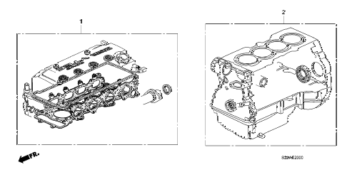 2009 s2000 CR(WITH AC) 2 DOOR 6MT GASKET KIT diagram