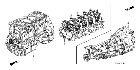 2008 s2000 CR(WITH AC) 2 DOOR 6MT ENGINE ASSY. - TRANSMISSION ASSY. diagram