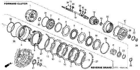 2005 insight DX 3 DOOR CVT AT INPUT SHAFT - FORWARD CLUTCH diagram
