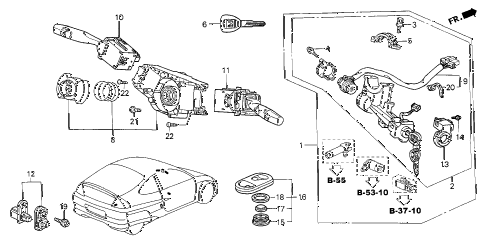 2005 insight DX 3 DOOR 5MT COMBINATION SWITCH diagram
