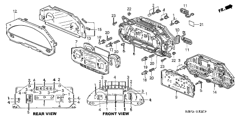 2005 insight DX 3 DOOR CVT METER COMPONENTS diagram