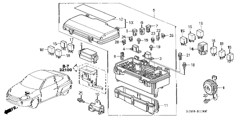 2004 insight DX 3 DOOR 5MT CONTROL UNIT (ENGINE ROOM) diagram