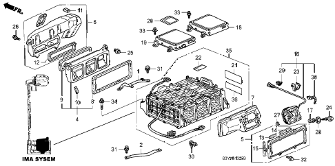 2006 insight DX 3 DOOR 5MT IMA BATTERY - ECU diagram
