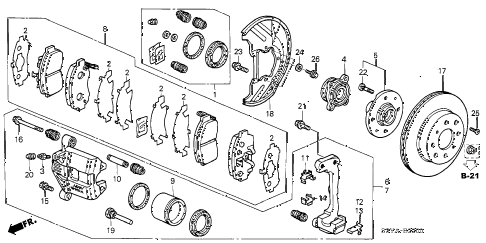 2006 insight DX 3 DOOR 5MT FRONT BRAKE (MT) diagram