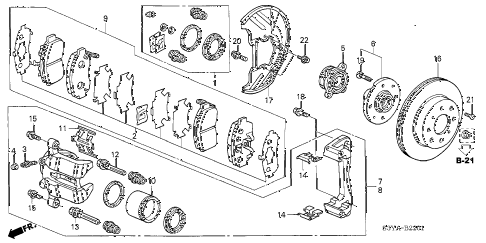 2005 insight DX 3 DOOR CVT FRONT BRAKE (CVT) diagram