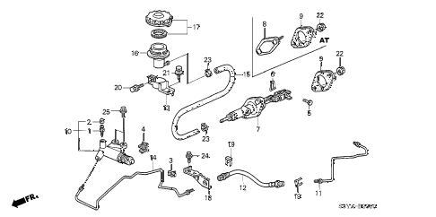 2005 insight DX 3 DOOR 5MT CLUTCH MASTER CYLINDER diagram