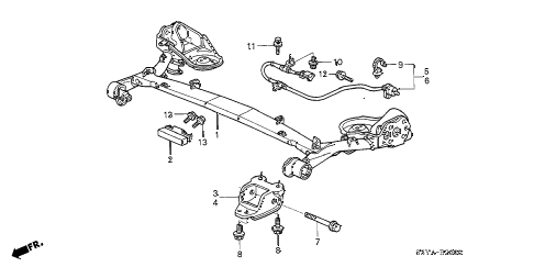 2006 insight DX(A/C) 3 DOOR 5MT REAR LOWER ARM diagram