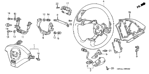2005 insight DX 3 DOOR CVT STEERING WHEEL (SRS) diagram
