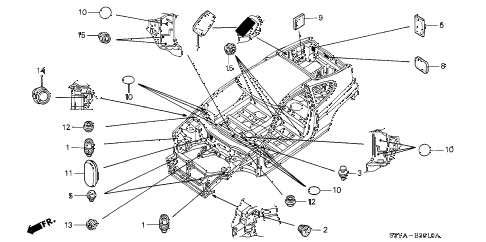 2006 insight DX 3 DOOR 5MT GROMMET (FR.) diagram