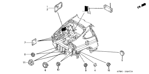 2006 insight DX(A/C) 3 DOOR 5MT GROMMET (RR.) diagram