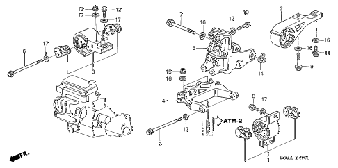 2005 insight DX 3 DOOR CVT ENGINE MOUNTS (AT) diagram