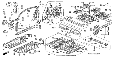 2004 insight DX 3 DOOR 5MT INNER PANEL - FLOOR PANEL diagram
