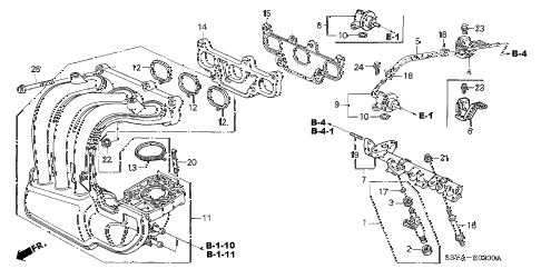 2004 insight DX 3 DOOR 5MT INTAKE MANIFOLD diagram