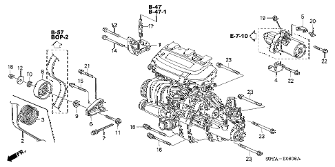 2006 insight DX 3 DOOR 5MT ENGINE MOUNTING BRACKET diagram