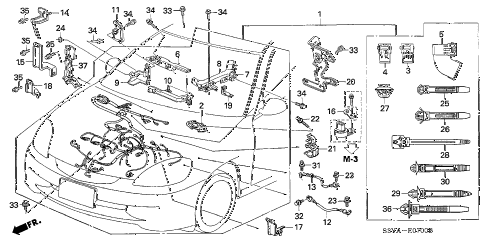 2005 insight DX 3 DOOR 5MT ENGINE WIRE HARNESS diagram