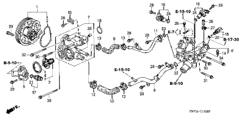 2004 insight DX 3 DOOR 5MT WATER PUMP - SENSOR diagram