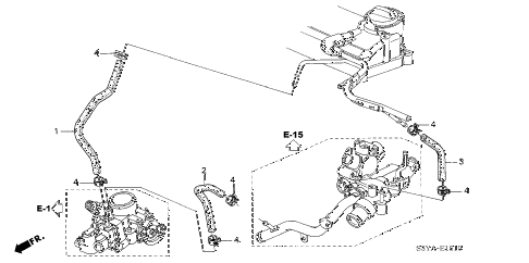 2006 insight DX(A/C) 3 DOOR 5MT WATER HOSE diagram