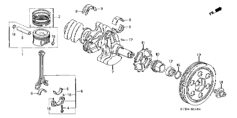 2006 insight DX(A/C) 3 DOOR 5MT PISTON - CRANKSHAFT diagram