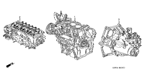 2004 insight DX 3 DOOR 5MT ENGINE ASSY. - TRANSMISSION ASSY. diagram