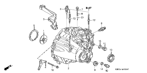 2006 insight DX(A/C) 3 DOOR 5MT MT TRANSMISSION CASE diagram