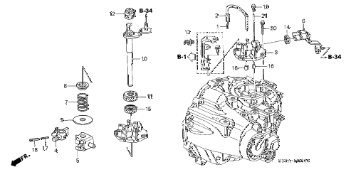 2006 insight DX(A/C) 3 DOOR 5MT MT SHIFT ARM diagram