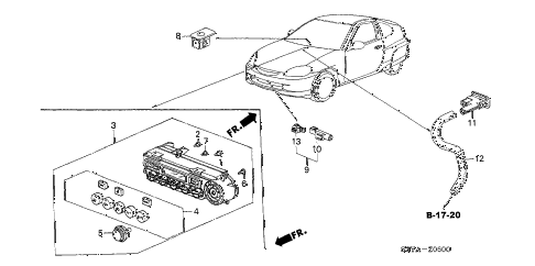 2006 insight DX 3 DOOR 5MT A/C SENSOR diagram