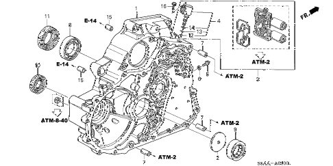 2004 civic DX 4 DOOR 4AT AT TORQUE CONVERTER CASE diagram