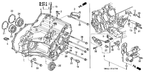 2004 civic EX(SIDE SRS) 4 DOOR 4AT AT TRANSMISSION CASE diagram