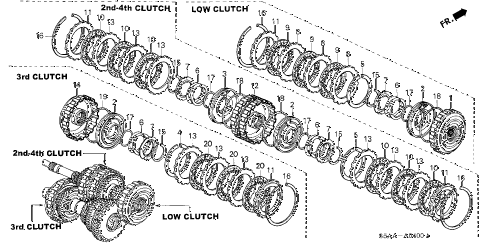 2004 civic DX(SIDE SRS) 4 DOOR 4AT AT CLUTCH diagram