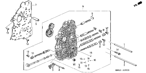2004 civic DX(SIDE SRS) 4 DOOR 4AT AT MAIN VALVE BODY diagram