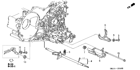 2004 civic EX(SIDE SRS) 4 DOOR 4AT AT SHIFT FORK - CONTROL SHAFT diagram