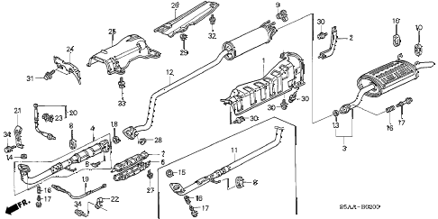 2004 civic DX(SIDE SRS) 4 DOOR 4AT EXHAUST PIPE - MUFFLER diagram