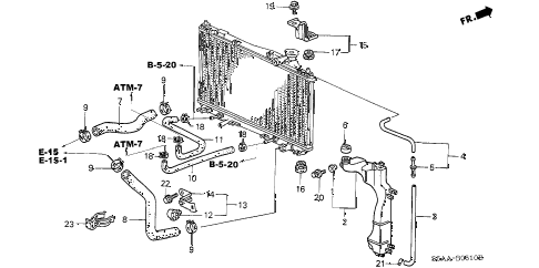 2004 civic EX 4 DOOR 5MT RADIATOR HOSE - RESERVE TANK diagram