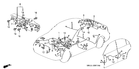 2004 civic DX 4 DOOR 4AT WIRE HARNESS diagram