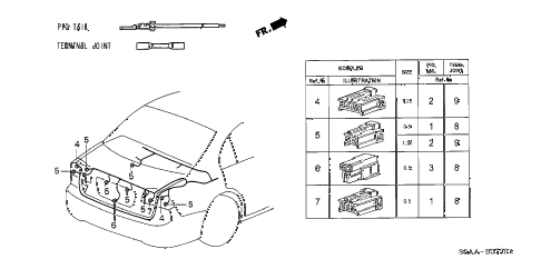 2004 civic DX 4 DOOR 4AT ELECTRICAL CONNECTORS (RR.) diagram