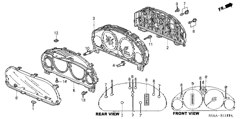 2004 civic DX-VP(VP SIDE SRS) 4 DOOR 5MT METER COMPONENTS (VISTEON) (1) diagram