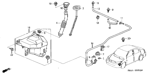 2004 civic DX 4 DOOR 4AT WINDSHIELD WASHER (1) diagram