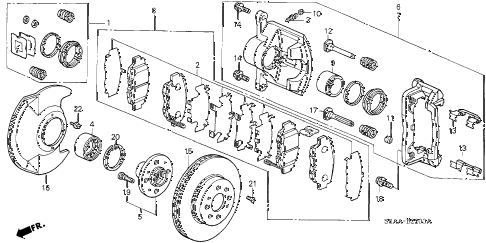 2004 civic EX(SIDE SRS) 4 DOOR 4AT FRONT BRAKE diagram