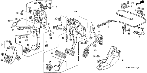 2004 civic GX(ABS SIDE SRS) 4 DOOR CVT PEDAL diagram