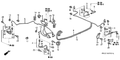 2004 civic DX(SIDE SRS) 4 DOOR 4AT BRAKE LINES diagram