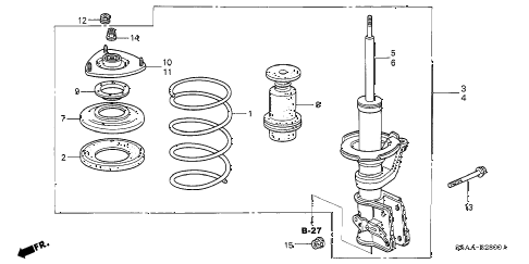 2004 civic EX 4 DOOR 5MT FRONT SHOCK ABSORBER diagram