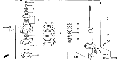 2004 civic EX(SIDE SRS) 4 DOOR 4AT REAR SHOCK ABSORBER diagram