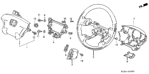 2004 civic DX 4 DOOR 4AT STEERING WHEEL (SRS) (1) diagram