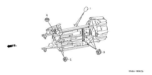 2004 civic GX(ABS SIDE SRS) 4 DOOR CVT GROMMET (UNDER) diagram