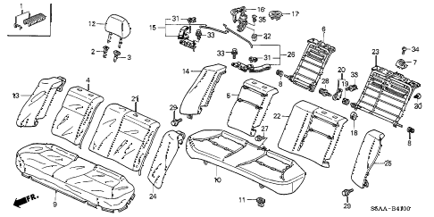 2004 civic EX(SIDE SRS) 4 DOOR 4AT REAR SEAT (1) diagram